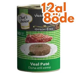 Chefs Choice - Chefs Choice Pate Veal Dana Etli Ezme Tahılsız Kedi Konservesi 400 Gr - 12 Al 8 Öde