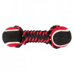 Diğer / Other - Çift Toplu İp Sargı 2 Toplu Köpek Oyuncağı (Kırmızı/Siyah) 22 Cm