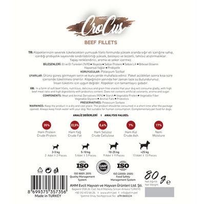 Crocus Beef Fillets Biftek Etli Tahılsız Köpek Ödülü 80 Gr