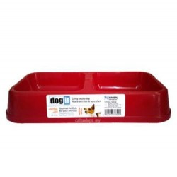 Dogit - Dogit 73345 İkili Plastik Mama-Su Kabı Kırmızı (Orta)