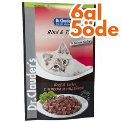 Dr.Clauders - Dr. Clauders Pouch Biftek & Hindi Kedi Maması 100 Gr - 6 Al 5 Öde