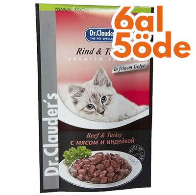 Dr. Clauders Pouch Biftek & Hindi Kedi Maması 100 Gr - 6 Al 5 Öde