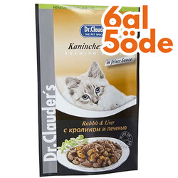 Dr.Clauders - Dr. Clauders Pouch Tavşan & Ciğer Kedi Maması 100 Gr - 6 Al 5 Öde