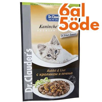 Dr. Clauders Pouch Tavşan & Ciğer Kedi Maması 100 Gr - 6 Al 5 Öde