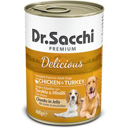 Dr.Sacchi - Dr. Sacchi Jöle Et Parçalı Tavuk ve Hindi Etli Köpek Konservesi 400 Gr