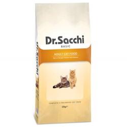 Dr.Sacchi - Dr. Sacchi Basic Tavuk Etli Kedi Maması 15 Kg + 10 Adet Temizlik Mendili