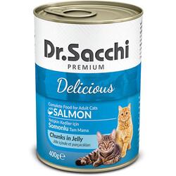 Dr.Sacchi - Dr.Sacchi Jöle Et Parçalı Somon Balıklı Kedi Konservesi 400 Gr
