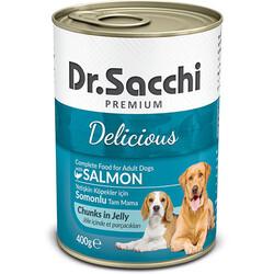 Dr.Sacchi - Dr.Sacchi Jöle Et Parçalı Somon Balıklı Köpek Konservesi 400 Gr