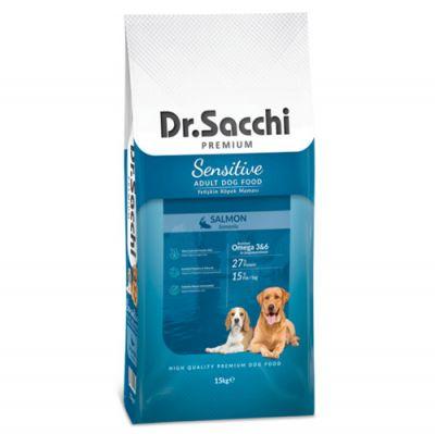 Dr. Sacchi Sensitive Somonlu Köpek Maması 15 Kg + 10 Adet Temizlik Mendili