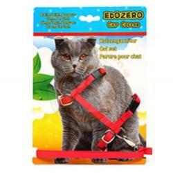 Edozero - Edozero Kırmızı Kedi Göğüs Tasması+Uzatma (110 Cm) Set