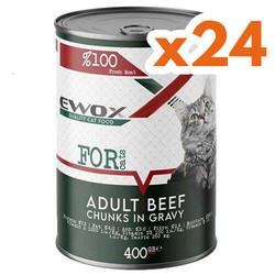 Ewox - Ewox Biftekli Parça Etli ve Soslu Yetişkin Kedi Konservesi 400 Gr x 24 Adet