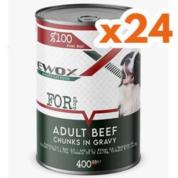 Ewox - Ewox Biftekli Parça Etli ve Soslu Yetişkin Köpek Konservesi 400 Gr x 24 Adet