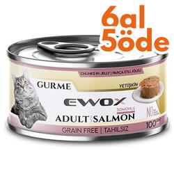 Ewox - Ewox Gurme Somonlu Tahılsız Kedi Konservesi 100 Gr - 6 Al 5 Öde