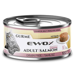 Ewox - Ewox Gurme Somonlu Tahılsız Kedi Konservesi 100 Gr