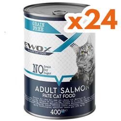 Ewox - Ewox Somonlu Parça Etli ve Soslu Yetişkin Kedi Konservesi 400 Gr x 24 Adet
