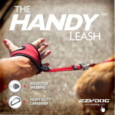 Ezydog Handy Leash Carabiner Eller Serbest Köpek Kayışı Kırmızı