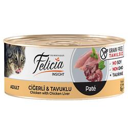 Felicia - Felicia Ciğer ve Tavuk Etli Kıyılmış Tahılsız Kedi Konservesi 85 Gr