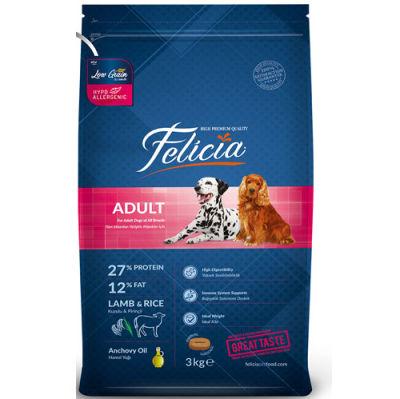 Felicia Düşük Tahıllı Kuzulu ve Pirinçli Yetişkin Köpek Maması 3 Kg + 5 Adet Temizlik Mendili