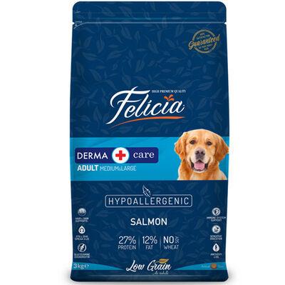Felicia Düşük Tahıllı Somonlu Yetişkin Köpek Maması 3 Kg + 5 Adet Temizlik Mendili