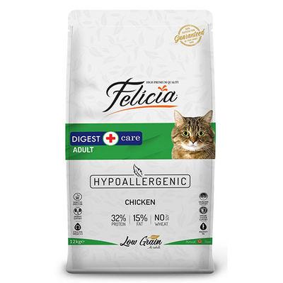 Felicia Düşük Tahıllı Yetişkin Tavuk Etli Kedi Maması 12 Kg + 10 Adet Temizlik Mendili