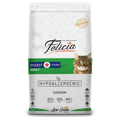 Felicia Düşük Tahıllı Yetişkin Tavuk Etli Kedi Maması 2 Kg + 5 Adet Temizlik Mendili
