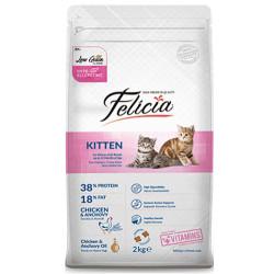 Felicia - Felicia Kitten Düşük Tahıllı Tavuk ve Hamsi Yavru Kedi Maması 2 Kg + 5 Adet Temizlik Mendili