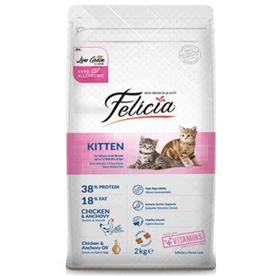 Felicia Kitten Düşük Tahıllı Tavuk ve Hamsi Yavru Kedi Maması 2 Kg + 5 Adet Temizlik Mendili