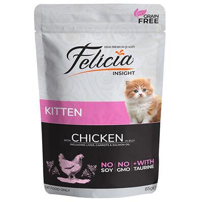 Felicia Pouch Kitten Tavuk Etli Yavru Tahılsız Kedi Yaş Maması 85 Gr