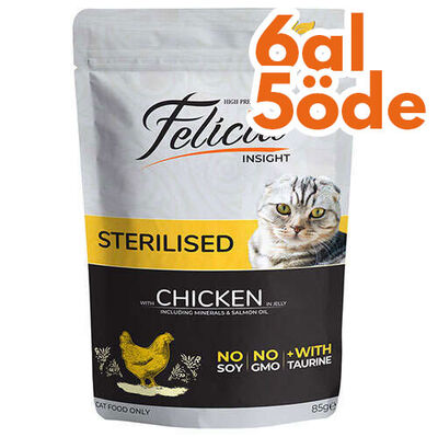 Felicia Pouch Sterilised Tavuk Etli Tahılsız Kısırlaştırılmış Kedi Yaş Maması 85 Gr - 6 Al 5 Öde