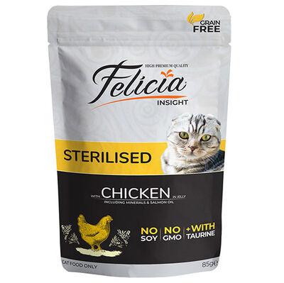Felicia Pouch Sterilised Tavuk Etli Tahılsız Kısırlaştırılmış Kedi Yaş Maması 85 Gr
