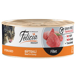 Felicia - Felicia Sterilised Biftek Etli Fileto Tahılsız Kısırlaştırılmış Kedi Konservesi 85 Gr