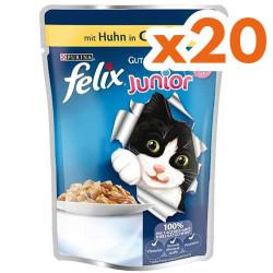 Felix - Felix Junior Pouch Tavuk Yavru Yaş Kedi Maması 100 Gr-(20 Adetx100 Gr)