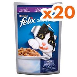 Felix - Felix Pouch Lamb Kuzu Etli Kedi Yaş Maması 100 Gr - ( 20 Adet x 100 Gr )