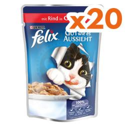 Felix - Felix Pouch Sığır Etli Yaş Kedi Maması 100 Gr - (20 Adet x 100 Gr)