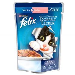 Felix - Felix Pouch Somon ve Sardalyalı Çifte Lezzet Yaş Kedi Maması 100 Gr