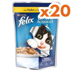 Felix - Felix Pouch Tavuk Etli Yaş Kedi Maması 100 Gr-(20 Adetx100 Gr)