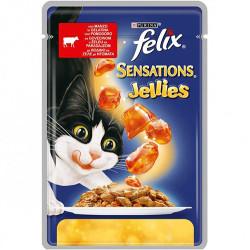 Felix - Felix Sensations Jellies Sığır Eti ve Domatesli Kedi Yaş Maması 100 Gr