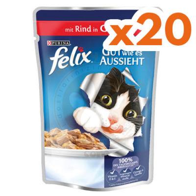 Felix Pouch Sığır Etli Yaş Kedi Maması 100 Gr-(20 Adetx100 Gr)