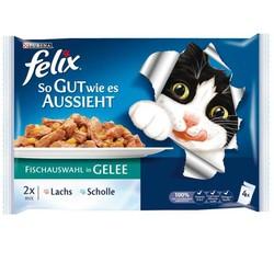Felix - Felix Ton ve Somon Balıklı Yaş Kedi Maması 4 Adetx100 Gr (Avantajlı Paket)
