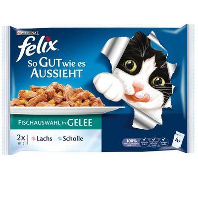 Felix Ton ve Somon Balıklı Yaş Kedi Maması 4 Adet x 100 Gr ( Avantajlı Paket )