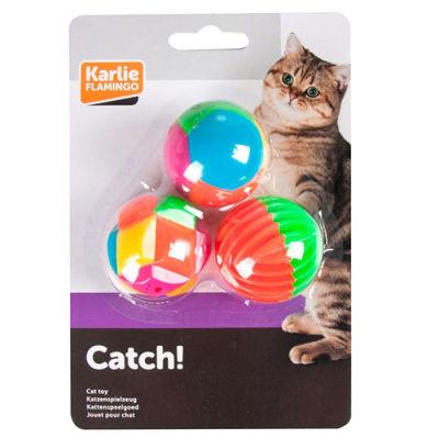 Karlie 503895 Plastik Renkli Top Kedi Oyuncağı 4 Cm - (3'lü Paket)