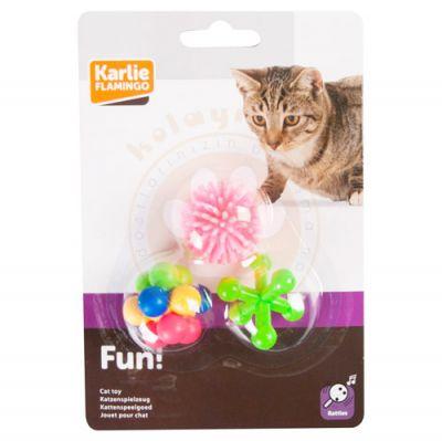 Karlie 503989 Flamingo 3'lü Kauçuk Kedi Oyuncağı 4 Cm