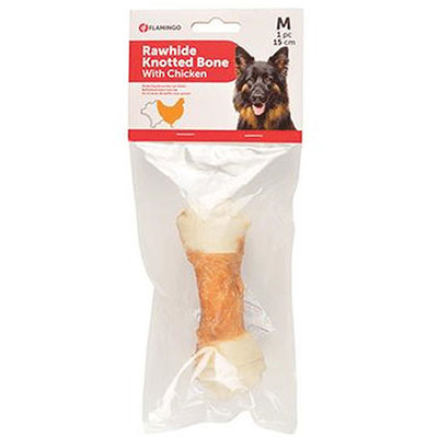 Flamingo 516887 Tavuk Eti Sargılı Düğüm Kemik Köpek Ödülü 15 Cm - Medium
