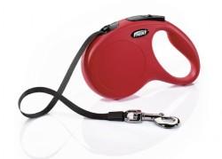 Flexi - Flexi New Classic Otomatik Kırmızı Şerit Gezdirme Medium 5 Mt