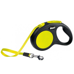 Flexi - Flexi New Neon Otomatik Sarı Şerit Gezdirme Medium 5 Mt