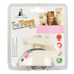 Flip - Flip ZM-4388 Kurmalı Peluş Fare Kedi Oyuncağı - Beyaz