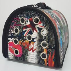 Diğer / Other - Flybag Kedi Köpek Taşıma Çantası Desenli (Koyu Figürlü) 25x30x40 Cm
