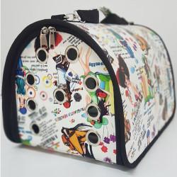 Diğer / Other - Flybag Kedi Köpek Taşıma Çantası Desenli (Beyaz Figürlü) 25x30x40 Cm