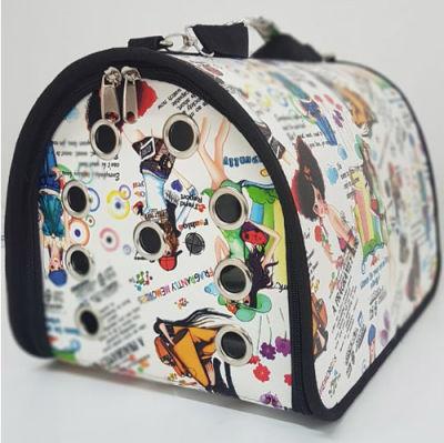 Flybag Kedi Köpek Taşıma Çantası Desenli (Beyaz Figürlü) 25x30x40 Cm