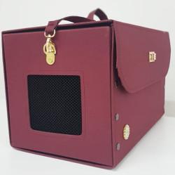 Diğer / Other - Flybag Kedi ve Küçük Irk Köpek Kutu Taşıma Çantası Bordo 24x24x40 Cm